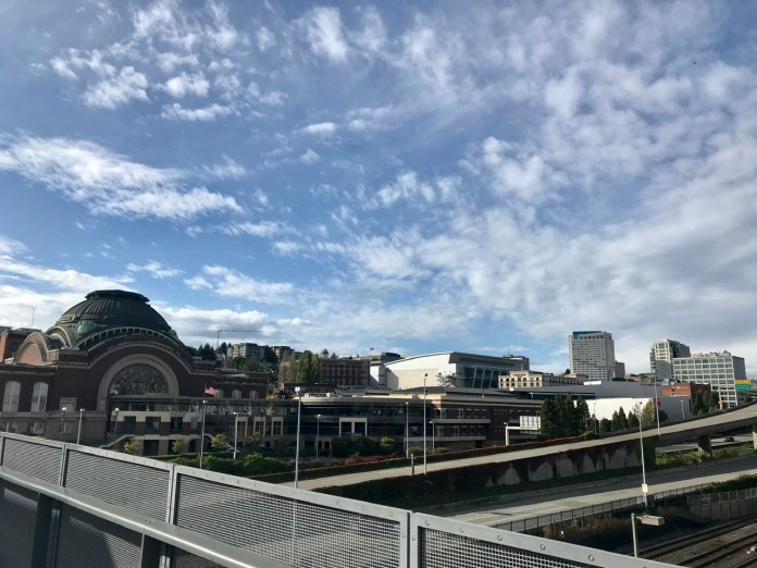 Tacoma's skyline from the Chihuly Bridge of Glass.