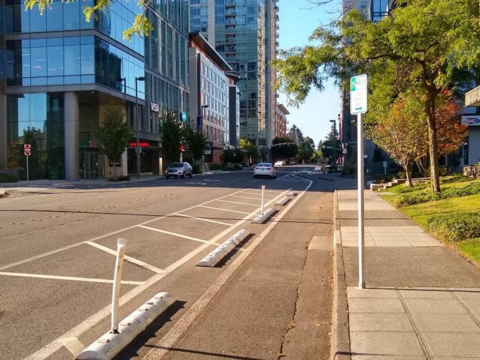 108th Avenue protected bike lane in Bellevue. (Photo by Chris Randels)