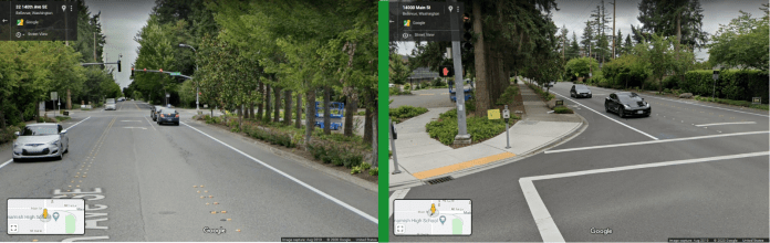Left: 140th Ave looking northward as one approaches Main Street. (Google Streetview) Right: Looking South on 140th Ave from Main Street. Note the nearly two car lengths of space from the crosswalk to where the curb starts to curve to accommodate turning drivers. (Google Streetview)