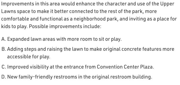 Upper Lawns priorities. (City of Seattle)