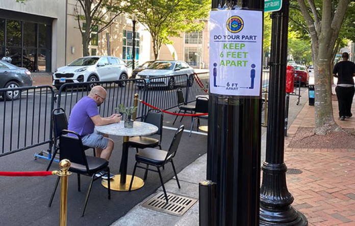 Dining in parking spaces allow for safe social distancing on Granby Street in Virginia. (OpenNorfolk)