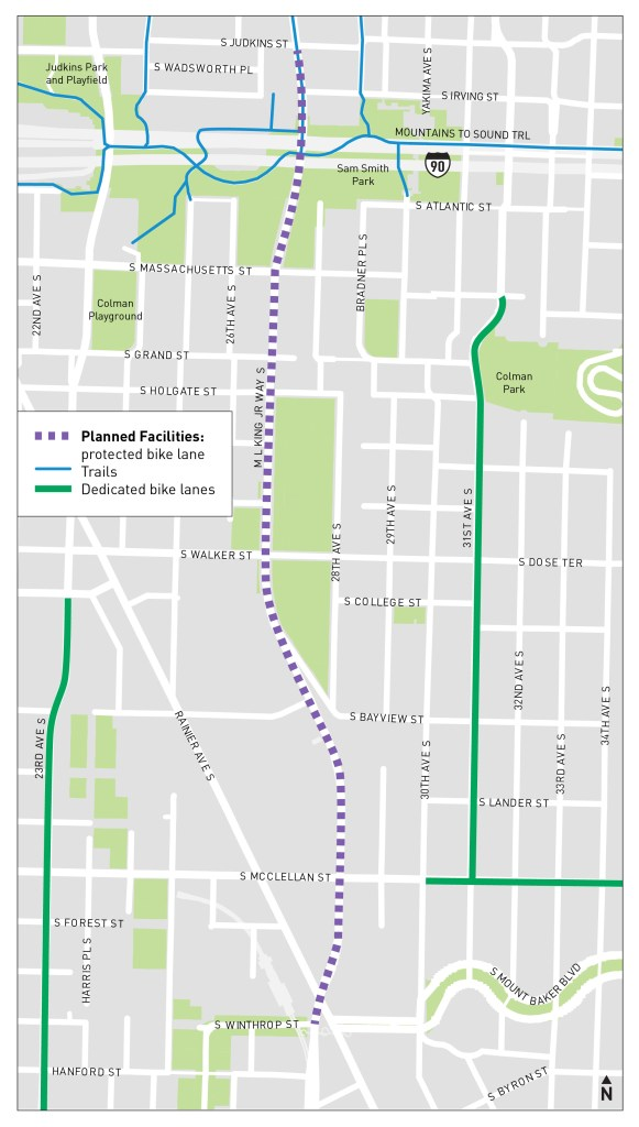 The scaled back MLK Way protected bike lane will stretch from S Judkins Street to S Wintrop Street. (SDOT)