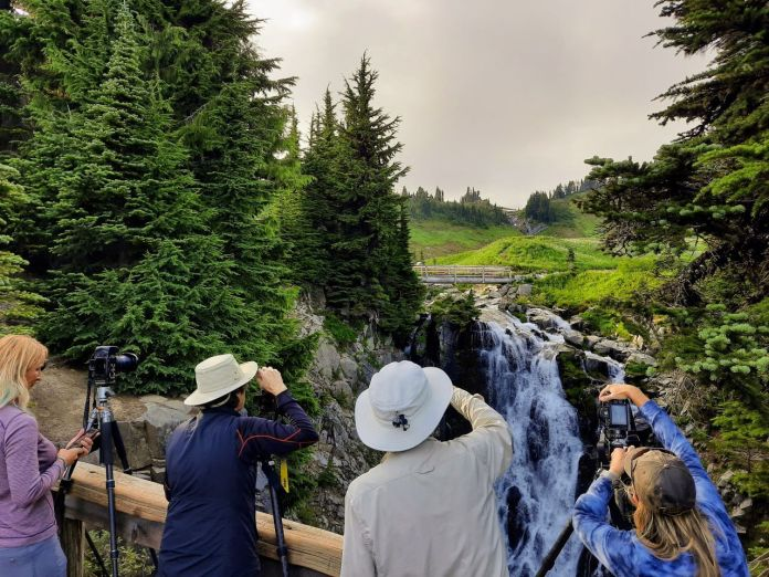 Four photographers with tripods point their camera at Myrtle Falls from a viewing ledge near Paradise.