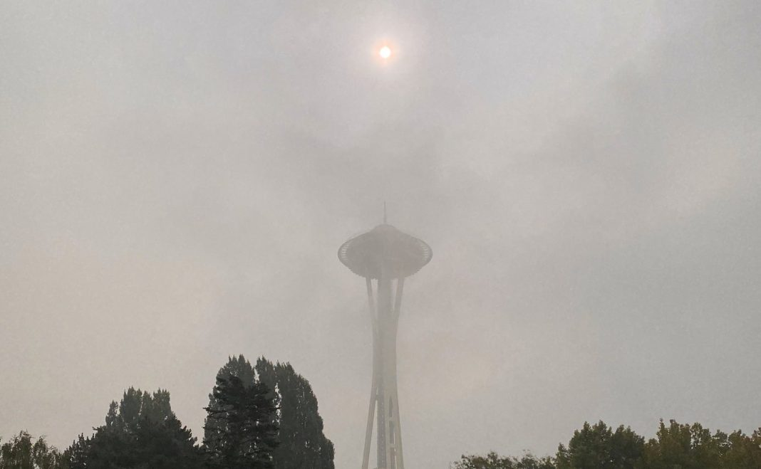 Space Needle shrouded in wildfire smoke