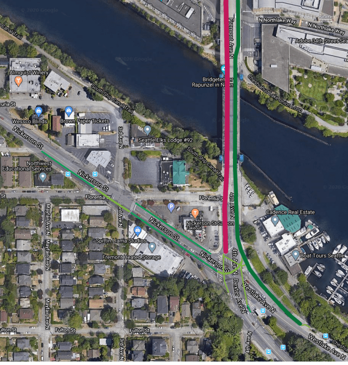 A map of the southend of the Fremont Bridge showing connections to nearby streets. Credit: Ballard-Fremont Greenways