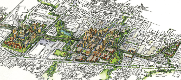 Aerial rendering of Bel-red neighborhood with TOD near Link stations.