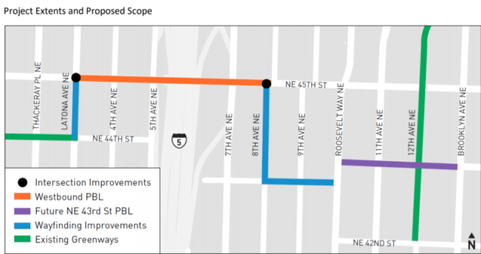 Proposal for NE 45th Street protected bike lane and adjoining greenways.