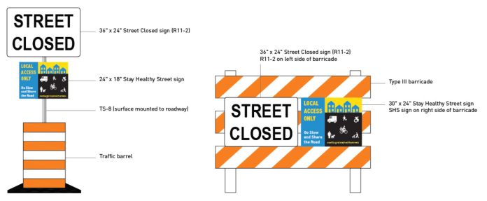 The new barrel and barricade Stay Healthy Streets signs that SDOT is rolling out. (City of Seattle)