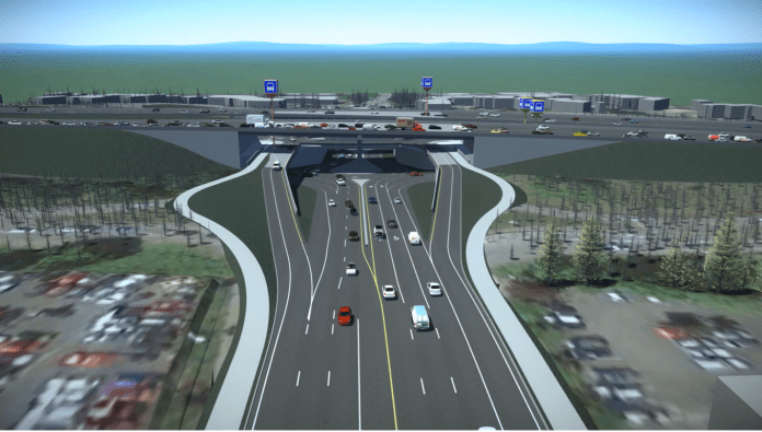 A rendering of the NE 85th Street interchange with lots of lanes and concrete.