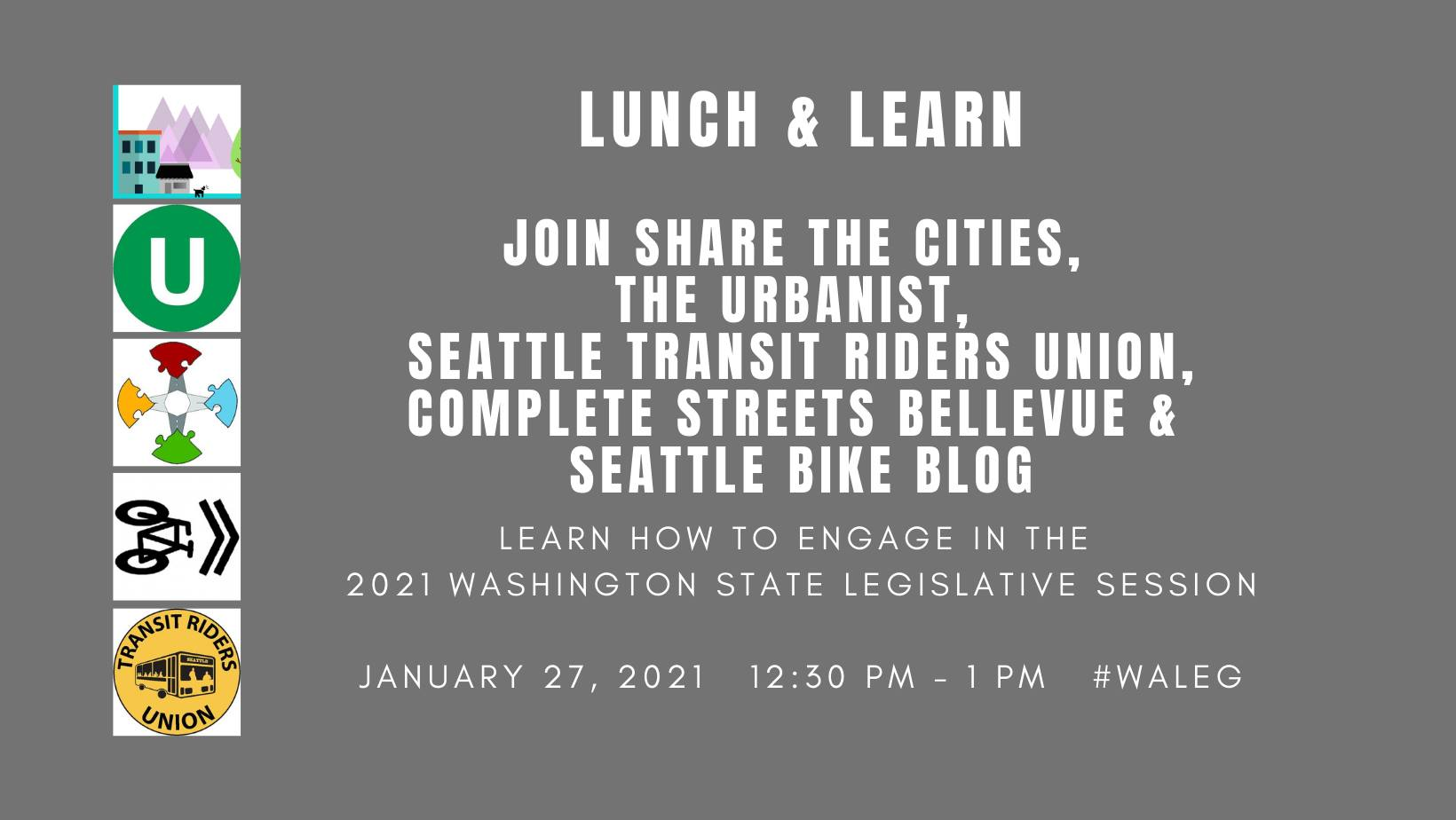 Graphic for lunch and learn with logos from Share the Cities, The Urbanist, Complete Streets Bellevue, Seattle Bike Blog, and Seattle TRU.