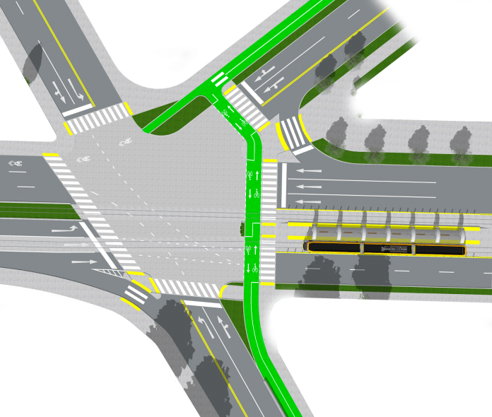 Overview rendering of the 5-way intersection of Union Bay Place NE/Mary Gates Memorial Drive, NE 35th Street, and NE 45th Street.