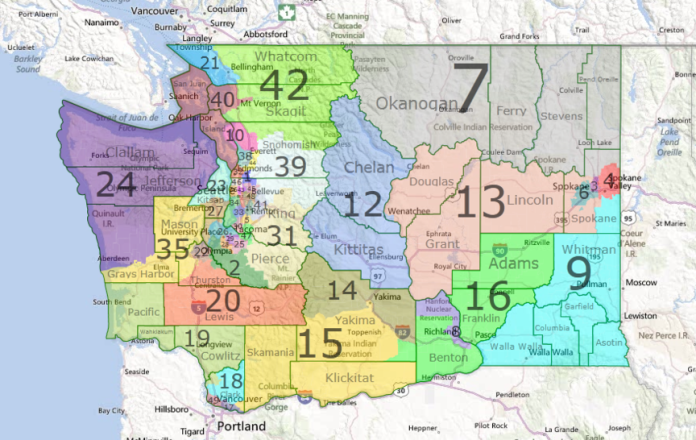 A map of Washington state with the 39 counties and 49 legislative districts indicated.