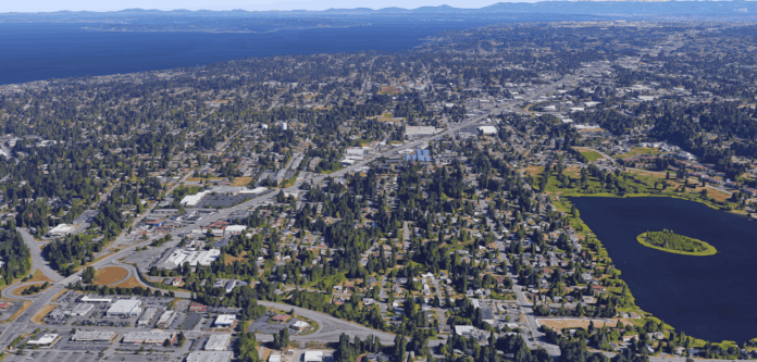Aerial of the SR-99 corridor in Edmonds which is a strip of density in a sea of mostly single family homes.