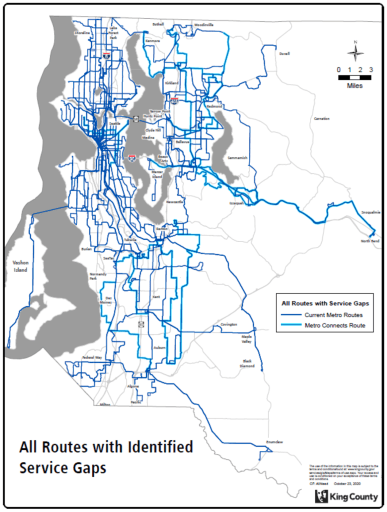 This map shows scores of routes in the Metro network that have service gaps needing to be addressed. Metro targets high quality, frequent service routes, but under the service guidelines all route are targeted for a minimum hourly frequency. Click for larger view. (King County)
