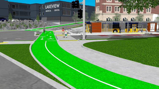 My proposed bike network improvements alongside a proposed BRT station at the intersection of Mary Gates Way, Union Bay Place, Northeast 45th Street, and 35th Ave NE. (Rendering by Joe Mangan/SketchUp Software).