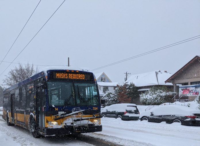 King County Metro Bus in the Snow