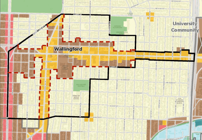 A map of the Wallingford Urban Village before the 2019 Mandatory Housing Affordability rezones. About half of the Urban Village was zoned (the light yellow) to exclude duplexes and apartments.  The Urban Village is bounded by 40th St on the south, 50th St on the north, Aurora on the West, and approximately Wallingford to Meridian on the east.