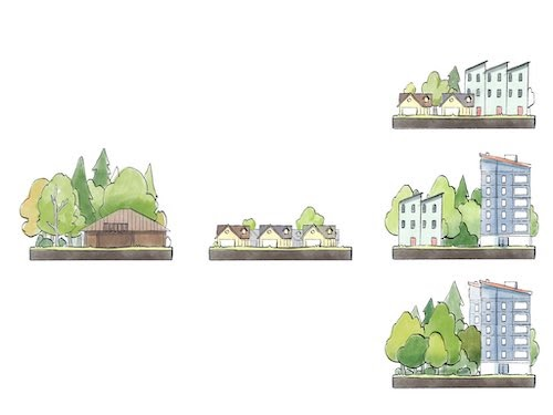 A graphic showing dense apartment and park space on Talaris.