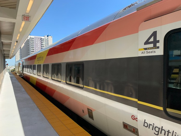 A Brightline rail car from the Siemens Venture series. (Phillip Pessar from Flickr)