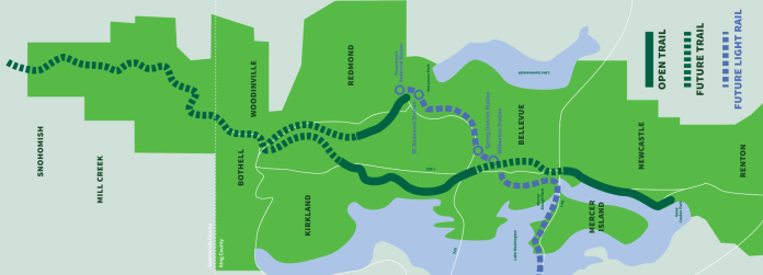 The overlap between Eastrail and East Link. (Courtesy of King County)