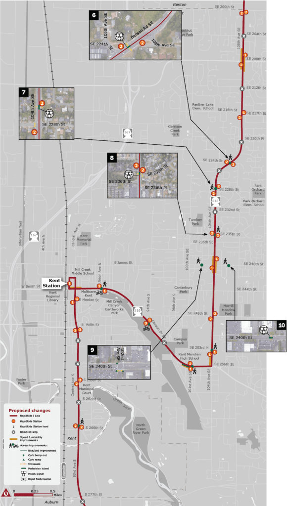 Map of corridor improvements and stop changes. (King County)