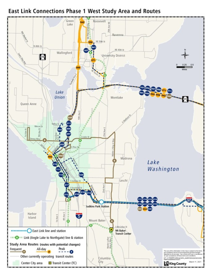 Routes in Seattle that part of the bus restructure study area. (King County)
