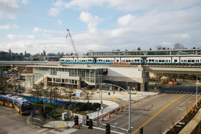 The new Northgate Station where light rail vehicles are being tested for a fall opening. (Sound Transit)