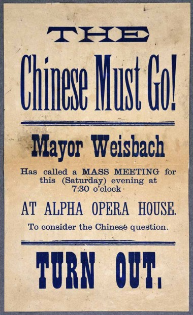 Broadside informing public of Anti-Chinese meeting. (Courtesy of the Washington State Historical Society)