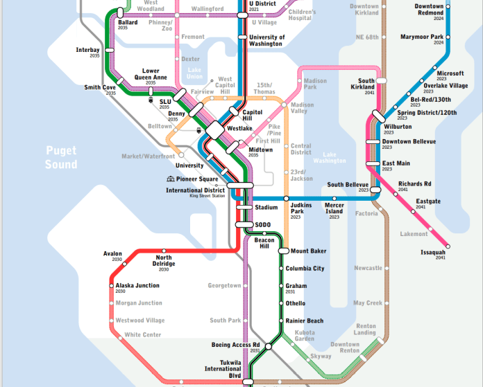 A map of the Seattle Subway's vision map of a light rail system made of seven lines that would cover much of the city.