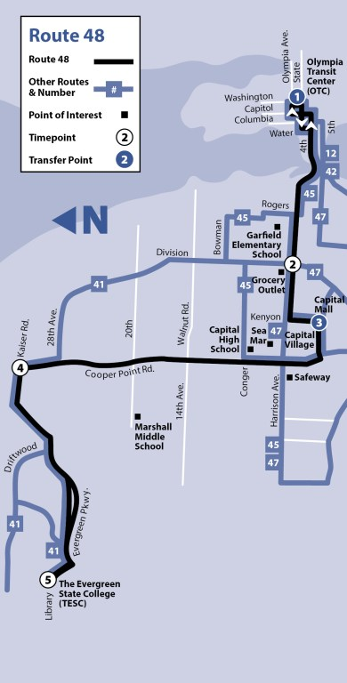 The path of Route 48 from Evergreen State College and Downtown Olympia. (Intercity Transit)