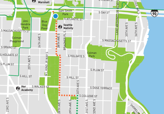 The orange connection to the I-90 trail was planned to be completed in 2018. It remains unfinished. (SDOT)