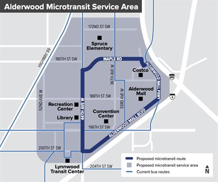 The conceptual Alderwood microtransit service area. (Community Transit)