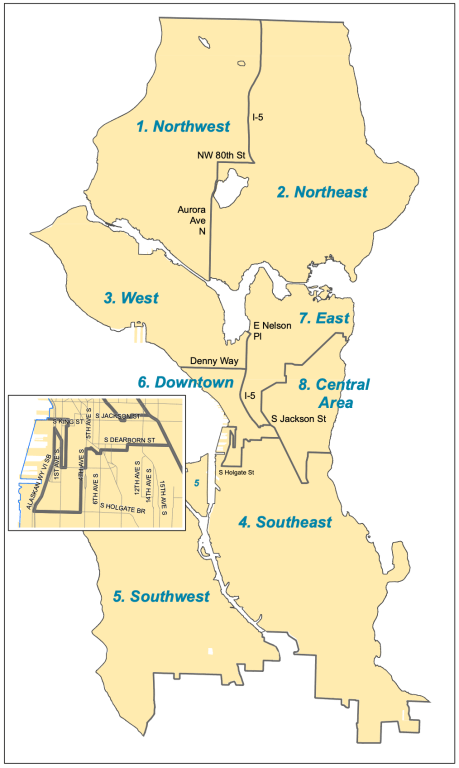 A map of the eight geographic districts represented by Seattle's Design Review Boards. (Credit: City of Seattle Department of Construction and Inspections)