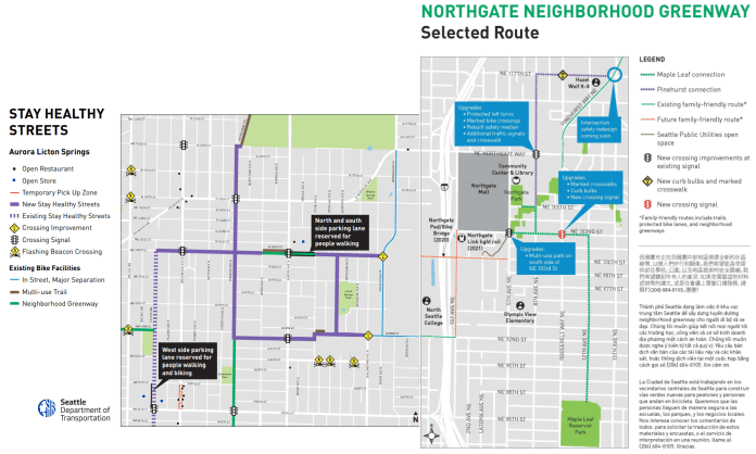 Two maps by Seattle Department of Transportation stitched together to demonstration their connection. On the left is Aurora Licton Springs Stay Healthy Streets Maps. On the right is Northgate Neighborhood Greenways map.