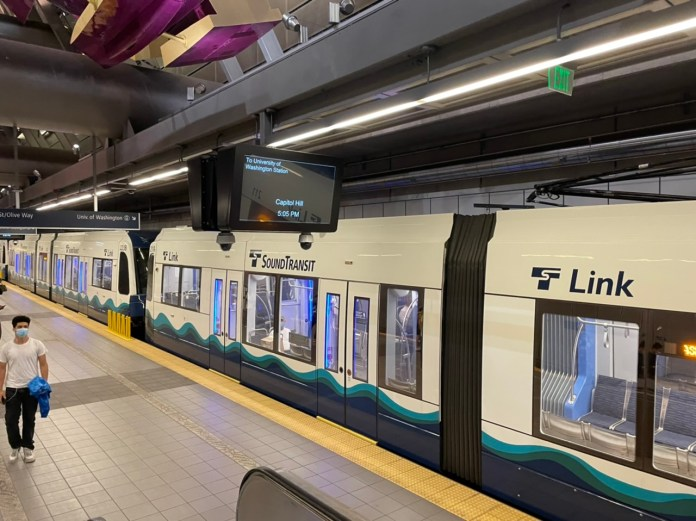 Link train at Capitol Hill Station. (Credit: The Urbanist)