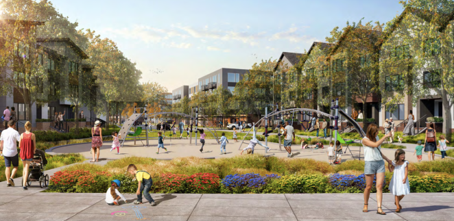 A rendering shows a park with children's play equipment full of people of all ages playing. There are three to four story residential buildings surrounding the park.