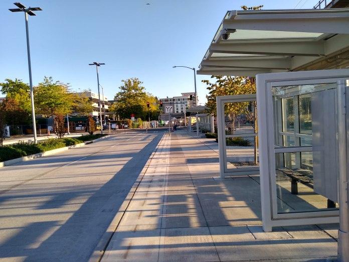 Bus shelter next to transit corridor