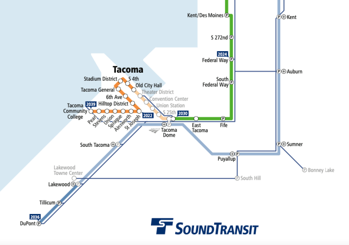 A map of the proposed Link routes in Tacoma and stations.