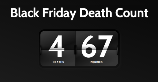 Black Friday death count as of Thanksgiving 2013.