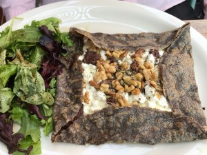 Pates et Traditions La Chevre Buckwheat Crepe with Goat Cheese, Black Tapenade, Walnut, Swiss Cheese and Provence Herbs
