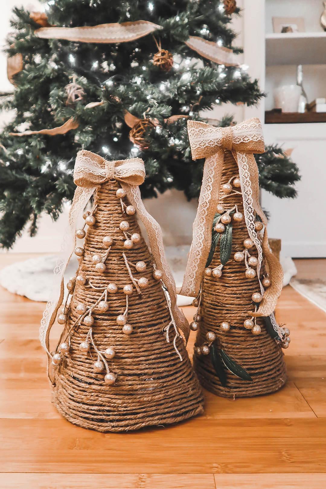 Rustic Homemade Christmas Cone Trees