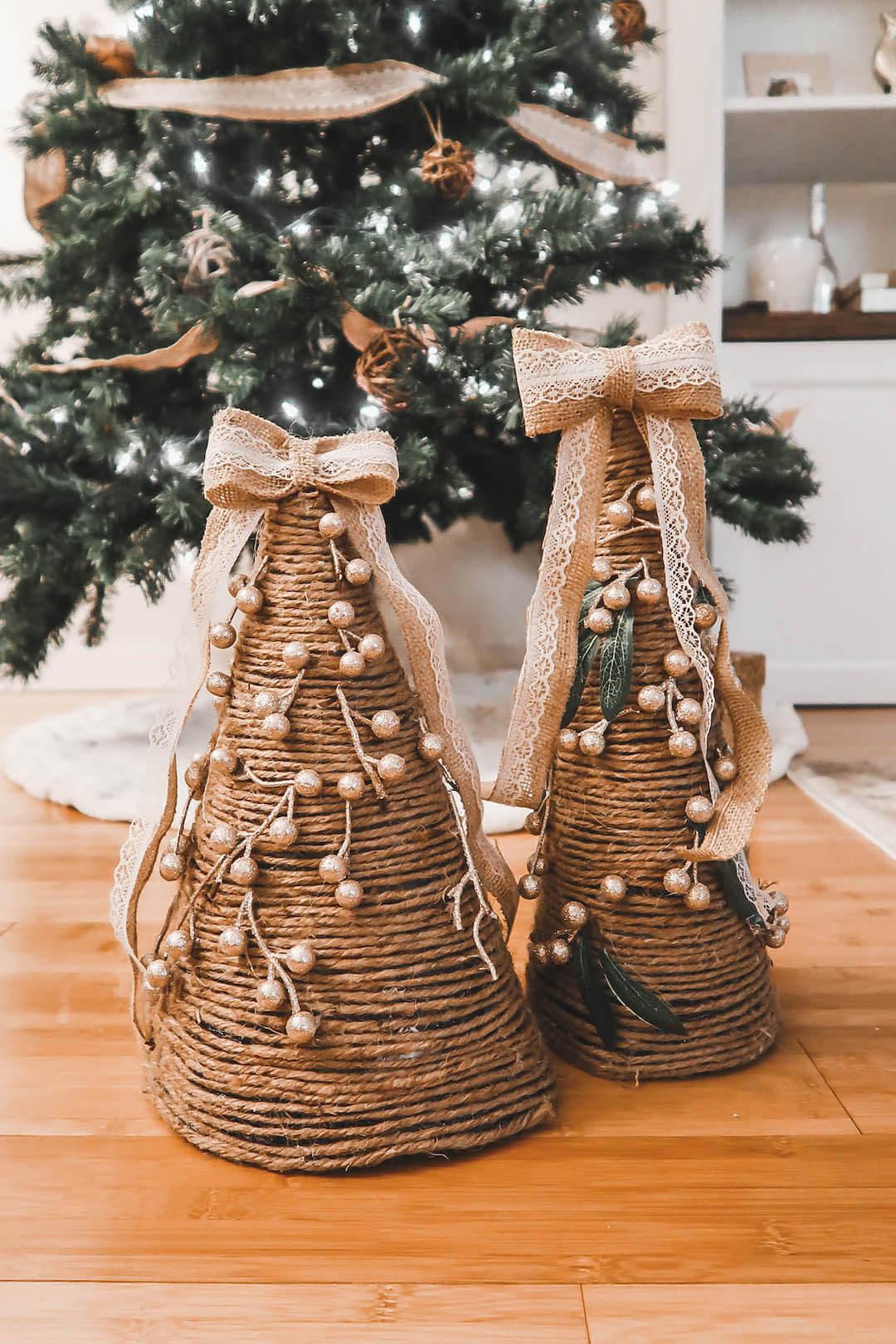 Farmhouse Style Christmas Cone Trees DIY