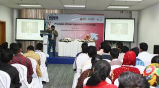 Wahid bin Ahsan taking session on UX at Digital World, 2015