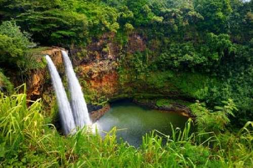 Majestic Twin Waterfalls on Kauai, Hawaii