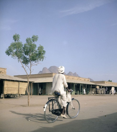Man on a bike in Sudan, 1958