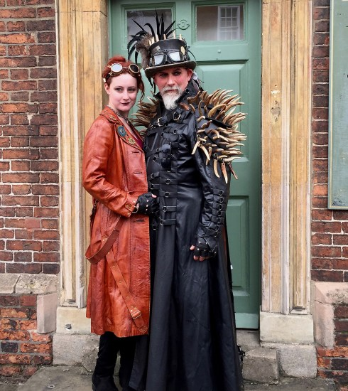 Steampunk couple posing in a doorway in Lincoln (Peter Moore)