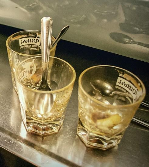 Empty pouch glasses at Bar Civili in Livorno (Peter Moore)