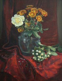 Red Silk Flowers, a still life painting in oils by Annabelle Valentine
