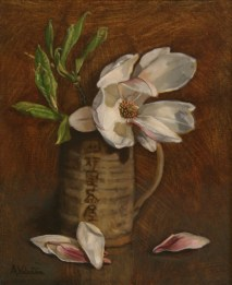 Magnolia, a still life painting in oils by Annabelle Valentine