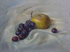 Smoky Apple, a still life painting in oils by Annabelle Valentine